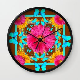 Coffee Brown Pink Flower Blue Butterfly Floral Art Wall Clock