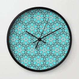 Symmetrical Flower Pattern in Turquoise Wall Clock
