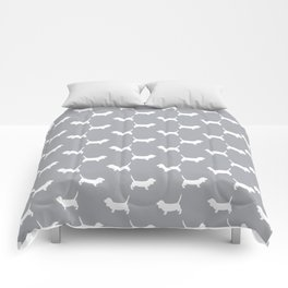 Basset Hound silhouette grey and white dog art dog breed pattern simple minimal Comforters