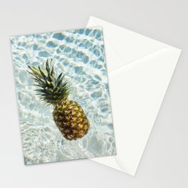 Floating on Cool Sunny Water Pineapple Fruit Summer Happiness Pop Art Modern Chic Home Decor Gallery Stationery Cards