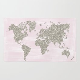 Pink and silver glitter world map Rug