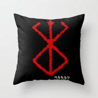 berserk Throw Pillows featuring Berserk Sacrifice by Vortha