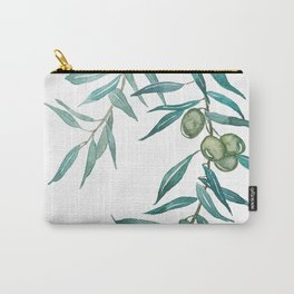 green olive leaf watercolor Carry-All Pouch