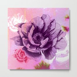 Hand Drawn Peony Flower with Watercolour Background Metal Print