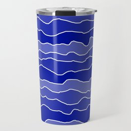 Four Shades of Blue with White Squiggly Lines Travel Mug