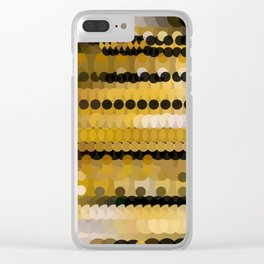 HONEY bright gold and black abstract honeycomb design Clear iPhone Case