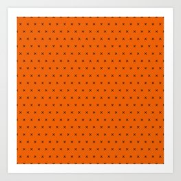Orange and black cross sign pattern Art Print