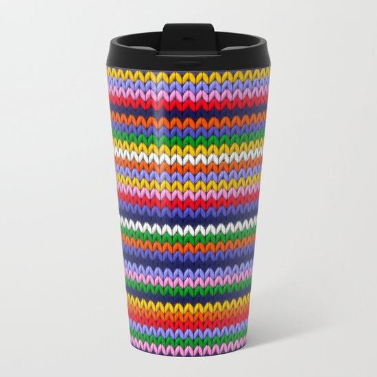 Knitted colorful lines Metal Travel Mug