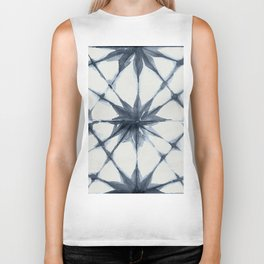 Shibori Starburst Indigo Blue on Lunar Gray Biker Tank