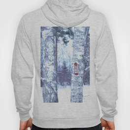 Red Bird House in Winter White Scene #decor #society6 #buyart Hoody