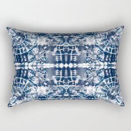 Blue Tie-Dye Spiral Stripe Rectangular Pillow