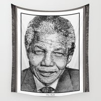 mandela Wall Tapestries featuring Nelson Mandela by JMcCombie