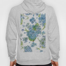Blue Hydrangea Watercolor Hoody