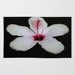 White Hibiscus Isolated on Black Background Rug
