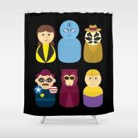 watchmen Shower Curtains featuring Watchmen by PinkRadish