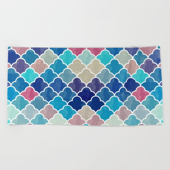 Watercolor Lovely Pattern VVXV Beach Towel