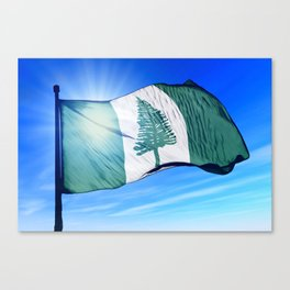 Norfolk Island flag waving on the wind Canvas Print