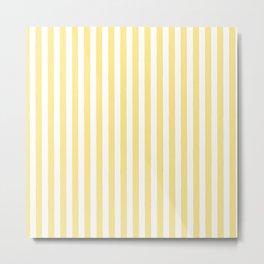 Modern geometrical baby yellow white stripes pattern Metal Print