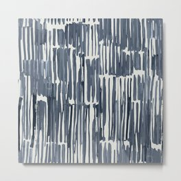 Simply Bamboo Brushstroke Indigo Blue on Lunar Gray Metal Print