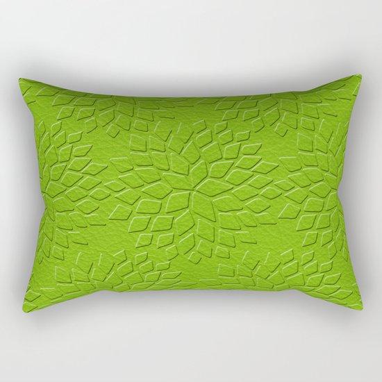 Leather Look Petal Pattern - Greenery Color Rectangular Pillow
