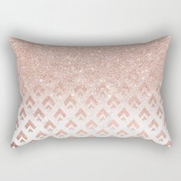 Faux rose gold glitter ombre rose gold foil triangles chevron geometric on white marble Rectangular Pillow