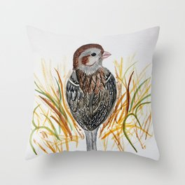 field sparrow watercolor Throw Pillow