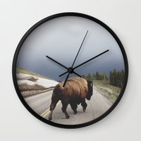 clouds Wall Clocks featuring Street Walker by Kevin Russ