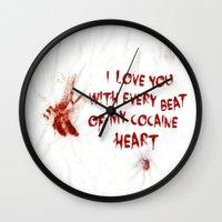 cocaine Wall Clocks featuring COCAINE LOVE by Beauty Killer Art