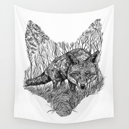 Fox Silhouette Wall Tapestry