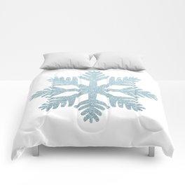 Blue Glitter Snowflake Comforters