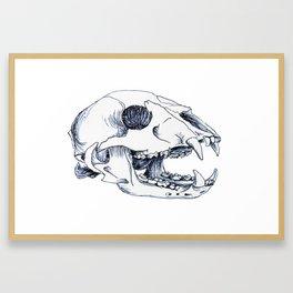 Black Bear Skull Framed Art Print