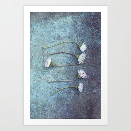 Daisies in a row Art Print