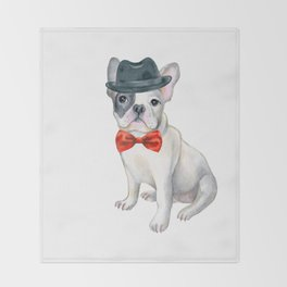 Frenchie French Bulldog Gangster Hat red bow tie Dogs In Clothes Throw Blanket