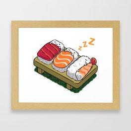 Sushi sleeping Framed Art Print