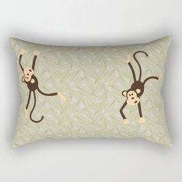 Cartoon Monkeys on Jungle Leaf Background Rectangular Pillow