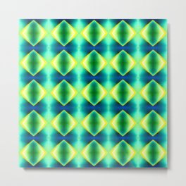 Green Blue Metallic Diamond Harlequin Pattern Metal Print