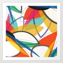 Contemporary composition of multicolored abstract flowers, superposition of geometric shapes Art Print