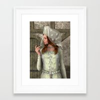medieval Framed Art Prints featuring Medieval Lady by Design Windmill