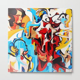 Expressive Abstract People Music Composition painting Metal Print