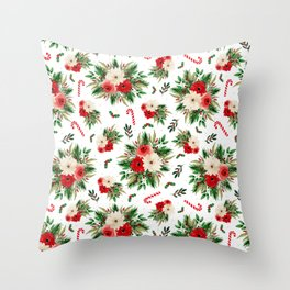 Candy Cane Christmas Floral Throw Pillow