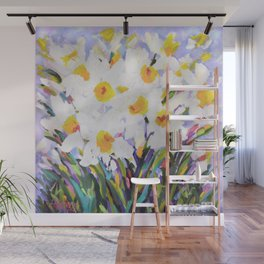 White Daffodil Meadow Wall Mural