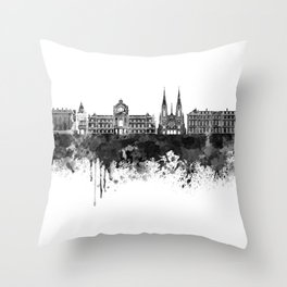 Strasbourg skyline in black watercolor Throw Pillow