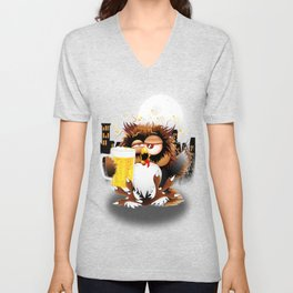 Drunk Owl with Beer Funny Character Unisex V-Neck