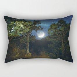 Moonset in coniferous forest Rectangular Pillow