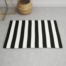 Abstract Black and White Vertical Stripe Lines 8 Rug