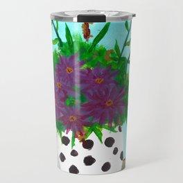Purple Flowers in Polka Dot Vase Travel Mug