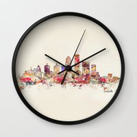 kentucky Wall Clocks featuring louisville kentucky by bri.buckley