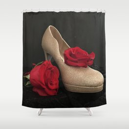 Glitter Gold Stiletto and Two Red Roses Shower Curtain
