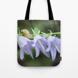 Eli the Snail and the Purple Flowers by Althéa Photo Tote Bag