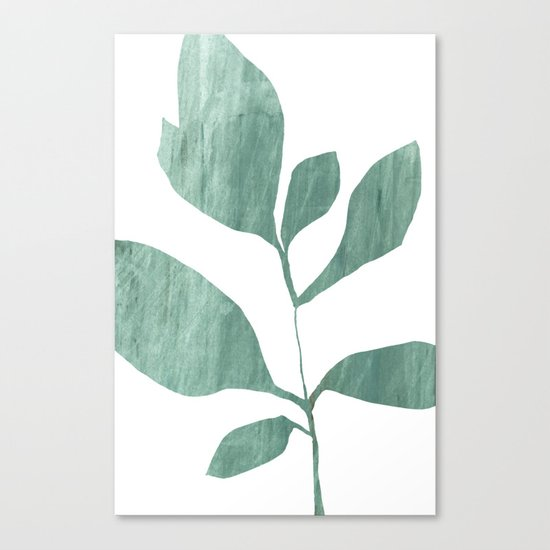 Seven Leaf Plant - Green Botanical Watercolor Painting by mininst